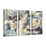 Abstract Pictures Canvas Wall Art: Dashes Graphic Artwork for Wall Decor (26'x16'x3panels)