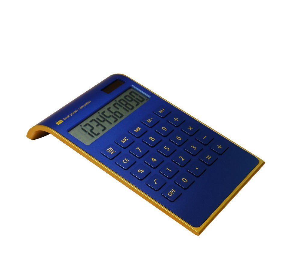 Amanstino Calculator, 10-digit Electronic Desktop Calculator - Battery & Solar Powerd Standard Function Desktop Business Calculator with Titled LCD Display Screen for Home & Office Use, Blue