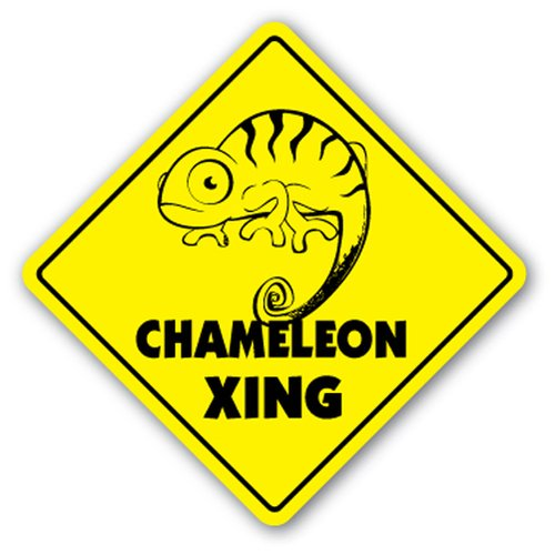 - [SignJoker] CHAMELEON CROSSING Sign xing gift novelty lizard supplies cage heat rock Wall Plaque Decoration
