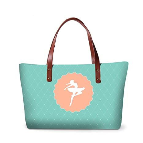 ff90a4fa6ae9 Image Unavailable. Image not available for. Color  Generic Ballet Print  Large Capacity Shoulder HandBags for Lady Girls Cute Tote ...