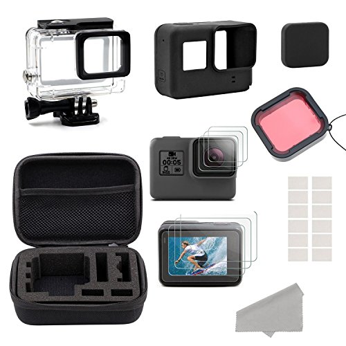 GreatCool GoPro Hero 5 6 Accessories Kit,Accessory Kit for Gopro Hero 5 6 with Travel Case ,Housing Case, Filter ,Protective Film, Lens Cover ,Silicone Protective Case, Anti Fog Inserts Underwater Lens