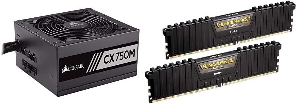 Corsair CX Series 750 Watt 80+ Bronze Certified Modular Power Supply & Vengeance LPX 16GB (2x8GB) DDR4 DRAM 3000MHz C15 Desktop Memory Kit - Black (CMK16GX4M2B3000C15)