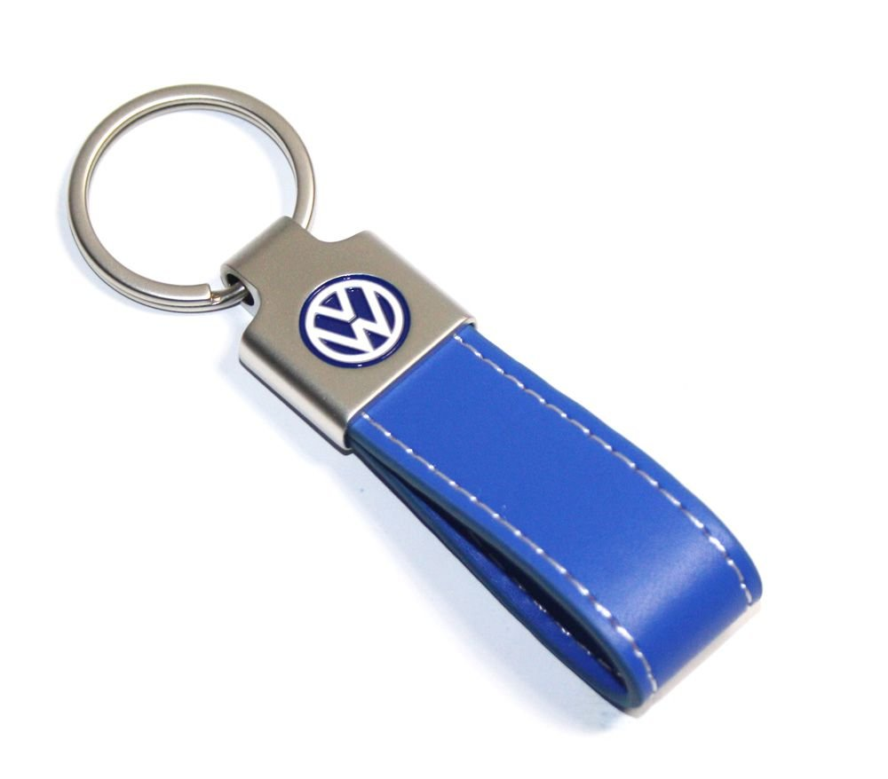 Acciaio Inossidabile Cuciture Bianco Royal Blu Unbekannt VW Portachiavi Band Keyring Keychain