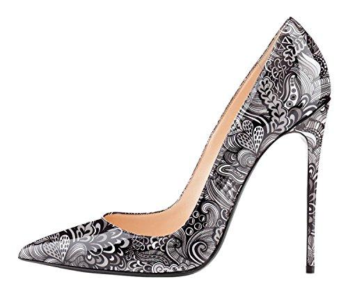 Pumps 72in Classic Gray Patent Pumps Heel Eldof Dress Pointed High Toe Wedding Party Stilettos 12cm 4 Pattern Women's YxIqYSgcwZ
