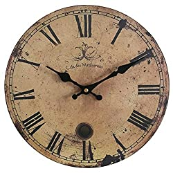 Eruner 16-inch Vintage Wood Wall Clock - France Paris *Cafe des Marguerites* Country Retro Style Non-Ticking Silent Wooden Wall Clock (#09, 16)
