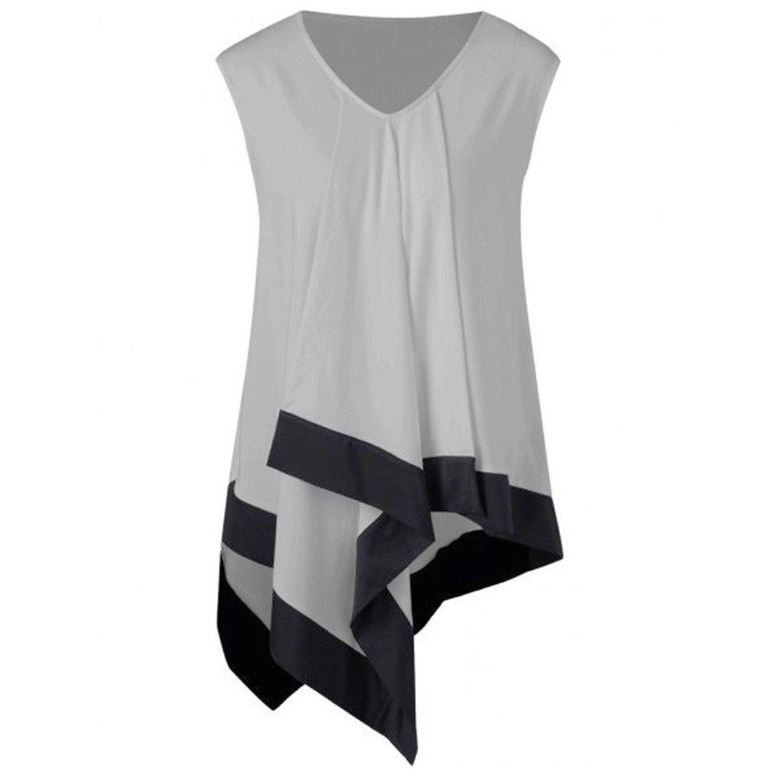 f989103d8f33c Amazon.com  ZHANGVIP Women Sleeveless V Neck T-Shirts Casual Loose  Irregular Summer Casual Loose Tank Top Vest Tee  Clothing