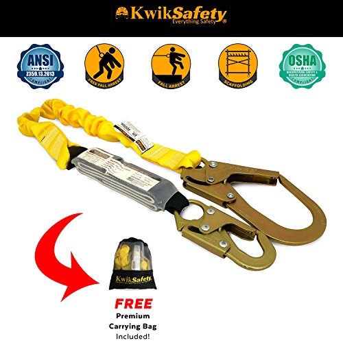KwikSafety BOA | Single Leg 6ft Tubular Stretch Safety Lanyard | OSHA Approved ANSI Compliant Fall Protection | EXTERNAL Shock Absorber | Construction Arborist Roofing | Snap & Rebar Hook Connectors by KwikSafety (Image #2)