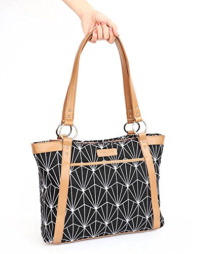 Kailo Chic Casual 15.4'' Laptop Tote - Black and White Art Deco Pattern