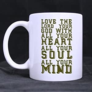 Love the Lord your God - Matthew 22 - Bible verse Ceramic White Mug-11 ounces