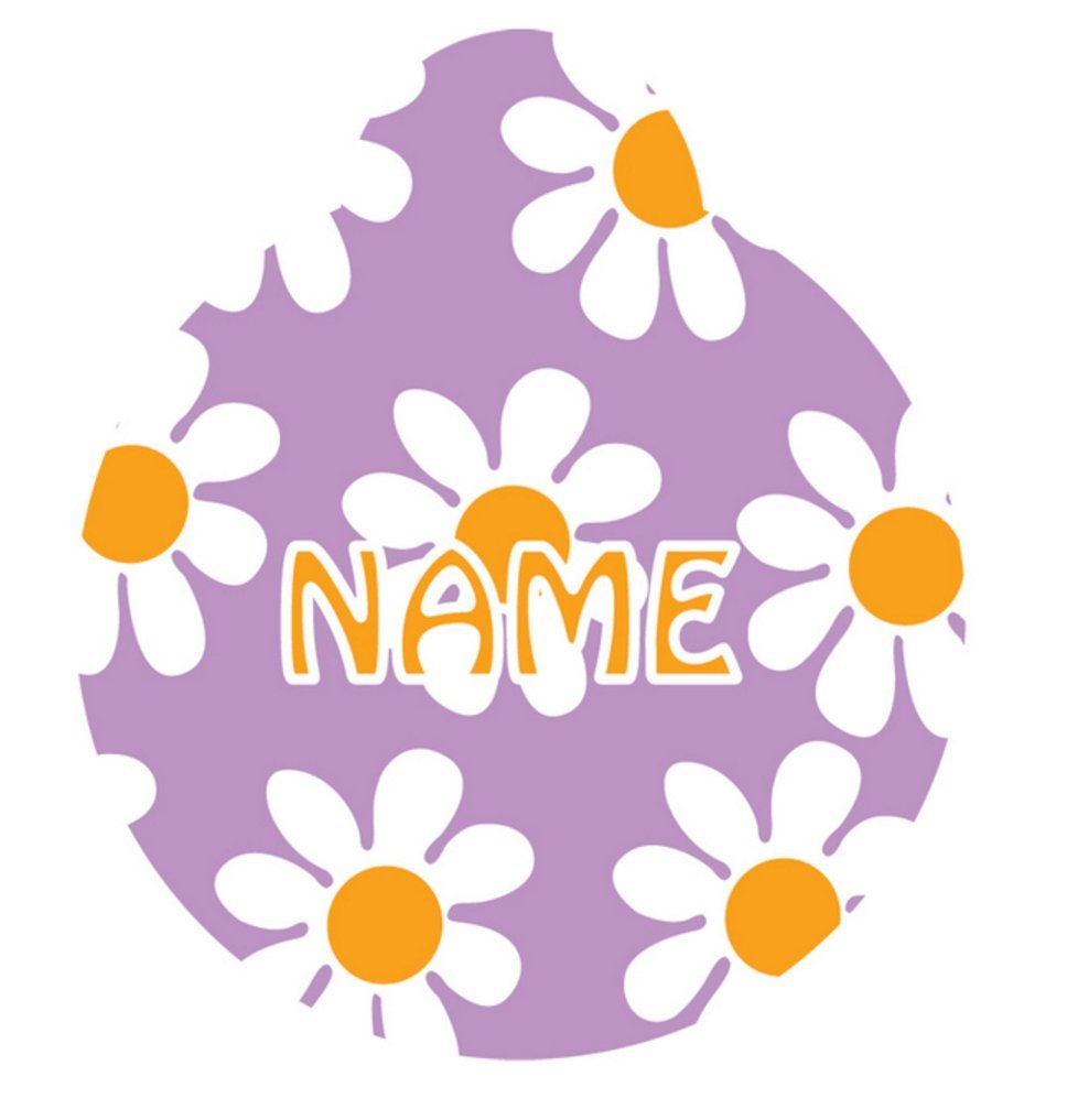 Yellow Dog Design Lavender Daisy Personalized Hi Def Pet ID Tag with Silencer, Small 1''