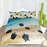 ARIGHTEX Hawaii Tortoise Bedding 3 Piece Aqua Turquoise Coastal Duvet Cover Kid Teen Honu Sea Turtles Starfish Ocean Animals Bed Set (Twin)