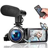 Image of Video Camera Camcorder, Vlogging Camera Full HD 1080P 30FPS 3'' LCD Touch Screen Vlog Video Camera for YouTube Videos with External Microphone and Remote Control
