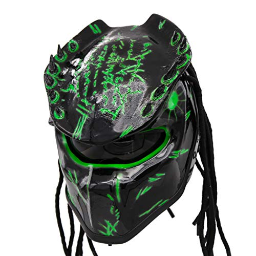 - Predator Motorcycle Helmet - DOT Approved - Unisex - Alien Green Spiked