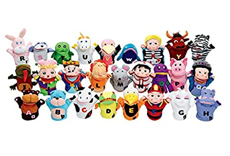 amazon com excellerations puppets abc puppet pals pack of 27