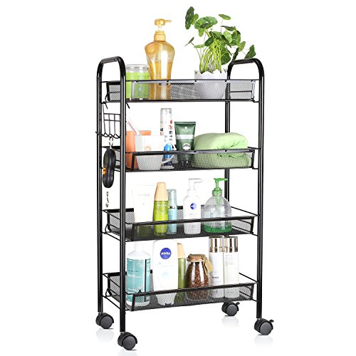 HOMFA 4-Tier Mesh Wire Rolling Cart Multifunction Utility Cart Kitchen Storage Cart on Wheels, Steel Wire Basket Shelving Trolley,Easy moving,Black
