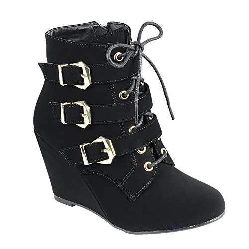 Women's Wedge Ankle Boots High Top Low Mid Heel Fashion-Sneakers Ankle Straps Double Zipper Lace up Casual Booties Black Nubuck 9