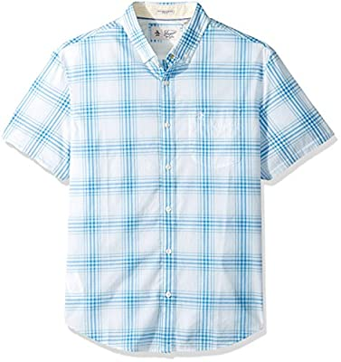 Original Penguin Men's Short Sleeve P55 Stretch Plaid Shirt