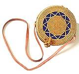 Handwoven Round Rattan Bag for women | Handmade Rattan Purse | Bohemian Shoulder Bag | Crossbody Straw Handbag (D: 7.9 in (L), Star)