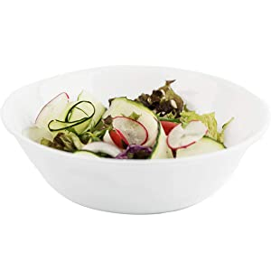 Delling 1.3 Qt / 43 Oz Serving Bowls Set for Pasta, Salad and More - 6 Pack White Dishes