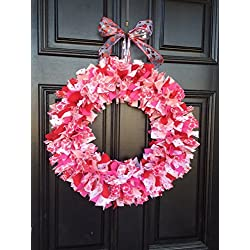 Valentines Day Rag Tie Round Wreath
