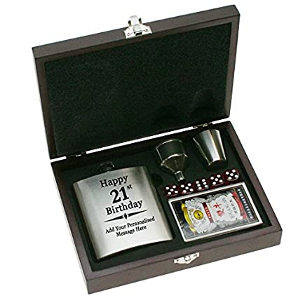 Personalised Hip Flask 21st Birthday Gift Set Amazoncouk Kitchen Home
