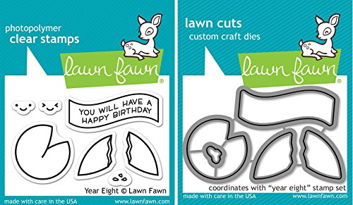 (Lawn Fawn - Year Eight - Fortune Cookie Stamp and Die Set - 2 Item Bundle)