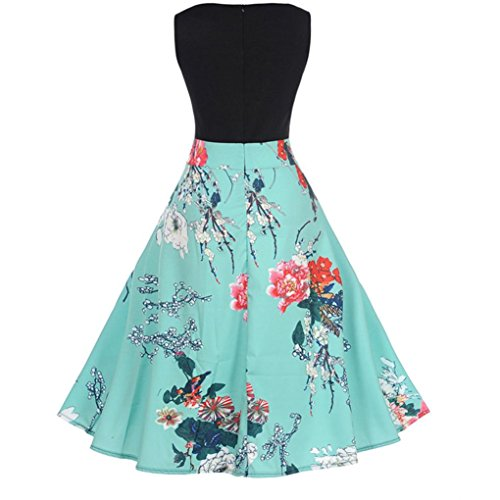 Vintage Dresses, Womens Floral Printed Sleeveless Casual Evening Party FORUU Blue