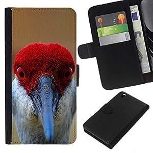 Supergiant (Funny Red Bird Beak Eyes Tropical Feather) Dibujo PU billetera de cuero Funda Case Caso de la piel de la bolsa protectora Para HTC DESIRE 816
