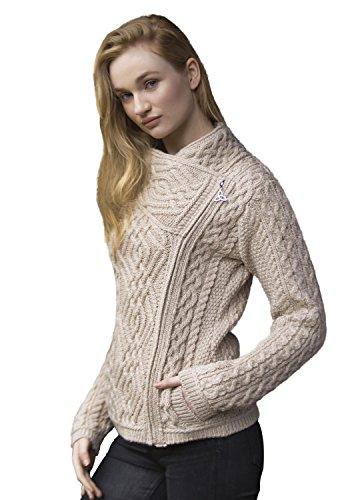 West End Knitwear Irish Cable Knit Merino Wool Side Zip Jacket (Medium),Parsnip