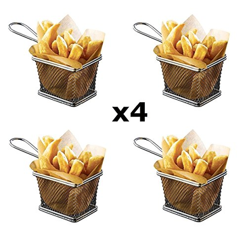 StillCool 4pcs Mini Fry Basket Square Stainless Steel Fryer Basket Present Fried Chip Food, Table - Serving Basket Square