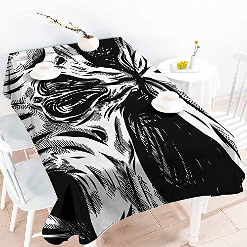 Homrkey Polyester Tablecloth Halloween Gothic Dead Skull Face Close Up Sketch Evil Anatomy Skeleton Artsy Illustration Black White Washable Tablecloth W70 xL84 -