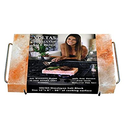 VOLTAS Himalayan Salt Block for Cooking, FDA approved 12x8 (96 sq. inch) Salt Slab comes with Stainless Steel Salt Plate Holder with FREE cotton bag for storage. from VOLTAS