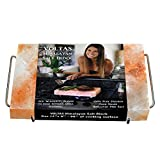 VOLTAS Himalayan Salt Block for Cooking, FDA approved 12x8 (96 sq. inch) Salt Slab comes with Stainless Steel Salt Plate Holder with FREE cotton bag for storage.