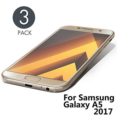 Aribest Galaxy A5 2017 Panzerglasfolie 3 Stück, Panzerglas Schutzfolie Für Samsung Galaxy A5 2017,Ultra-klar 9H Härte,HD Klar Anti-Öl, Anti-Kratzen, Anti-Bläschen, 3D Touch Kompatibel