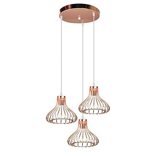 ACRHOME 3-Luces Jaula de pájaro de lámparas de suspensión ...