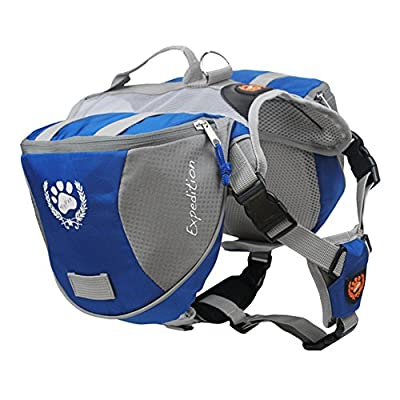 Columbustore Outdoor Adjustable Dog Saddle Bag Large Capacity Dog Backpack with Reflective Stripe