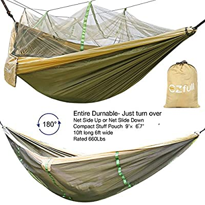 "EZfull Double Camping Hammock with Mosquito Net 660LBS Bearing Portable Outdoor Hammocks,10ft Hammock Tree Straps & 12KN Carabiners for Backpacking Camping Travel Beach Yard. 118""(L) x 78""(W)"