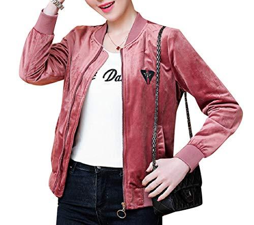 Blouson Women's Banded Slim Pleuche Jacket 2 Casual Collar Mogogo qfTBP