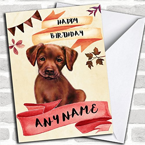 Watercolour Rustic Dog Chocolate Labrador Puppy Personalized