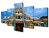 Islamic Decor Artwork for Wall 5 Piece Canvas Art Traditional Hindu Temple Picture for Living Room Modern Paintings Home Decor Framed Giclee Posters and Prints Stretched Ready to Hang(50''Wx24''H)