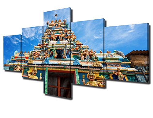 Islamic Decor Artwork for Wall 5 Piece Canvas Art Traditional Hindu Temple Picture for Living Room Modern Paintings Home Decor Framed Giclee Posters and Prints Stretched Ready to Hang(50''Wx24''H) (Wall Temple Art Painting)