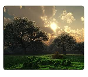 Dawn Meadow Sunset Landscape Scenery Mouse Pads Customized Made to Order Support Ready 9 7/8 Inch (250mm) X 7 7/8 Inch (200mm) X 1/16 Inch (2mm) High Quality Eco Friendly Cloth with Neoprene Rubber Luxlady Mouse Pad Desktop Mousepad Laptop Mousepads Comfortable Computer Mouse Mat Cute Gaming Mouse pad