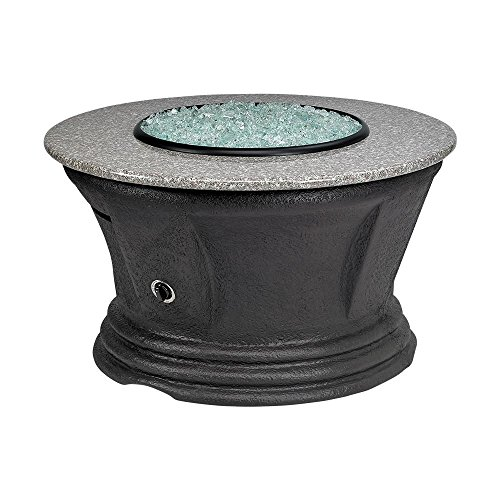 San Simeon Series Outdoor Gas Fire Pit Table by American Fire Products, Round, 42-Inch, Pebble Granite Top