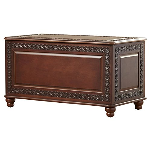 Trunk Traditional Style Lift Top Reveals Spacious Cedar Lined Storage Area Deep Tobacco Finish All Sides Finish Lifting Top Safety Hinge - Cedar Lined Blanket