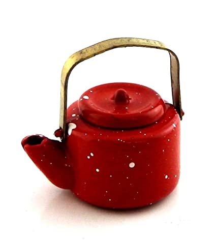 Dollhouse Miniature Red Metal Watering Can by International Miniatures