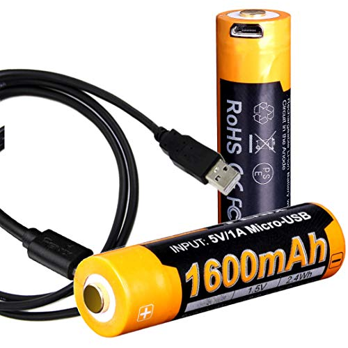 Fenix ARB-L14-1600U 1.5V USB Rechargeable 1600mAH AA Batteries (2 Pack) with LumenTac Charging Cable