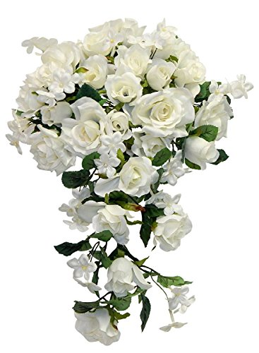 Cascade Bridal Bouquet IVORY CREAM Silk Wedding Flowers Roses Bride - Cream Cascade