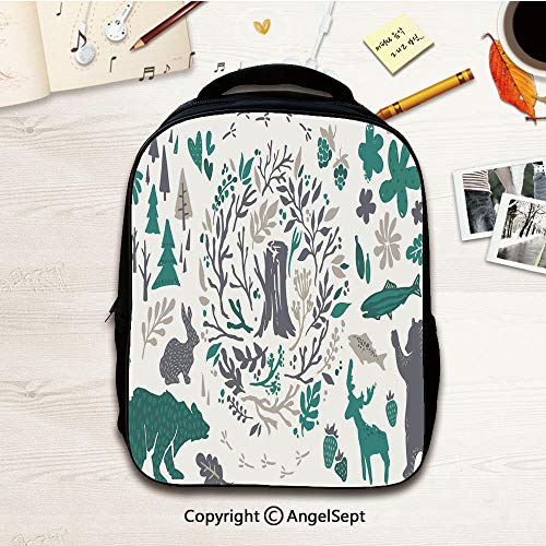 Kids Backpack,Cabin Decor Sketched Elements of Northern Forest Berries Trees,12.2