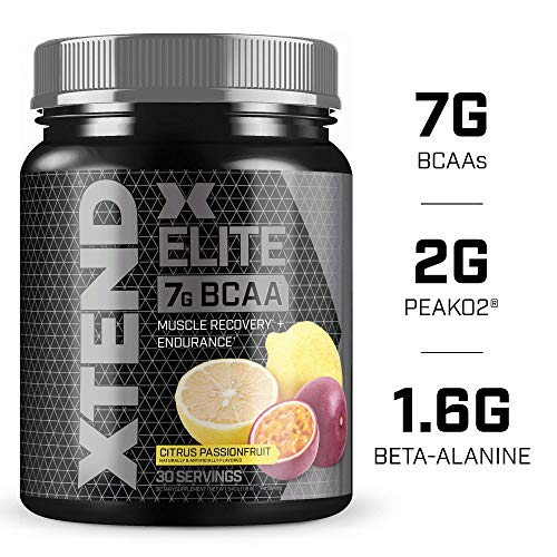XTEND Elite BCAA Powder Citrus Passionfruit | Sugar Free Post Workout Muscle Recovery Drink with Amino Acids | 7g BCAAs for Men & Women| 30 Servings