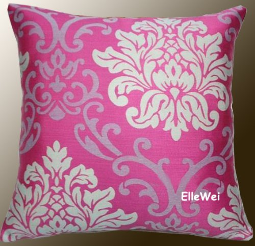 amazoncom elleweideco decorative modern pink damask throw pillow cover home kitchen - Pink Decorative Pillows